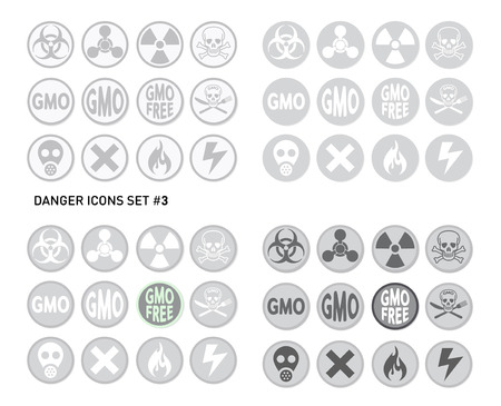 toxic product: Set of icons for dangerous and hazardous product like radiations, poisons, toxic substances or fire and electricity
