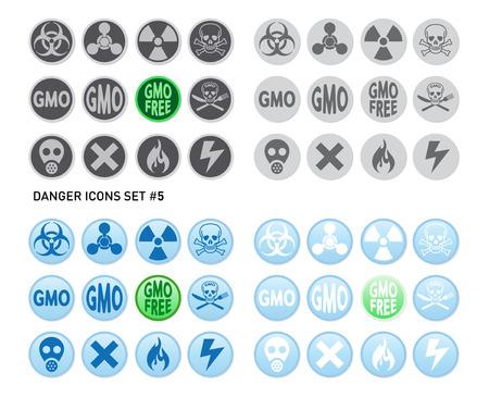 sustancias toxicas: Conjunto de iconos para el producto peligrosos y arriesgados como radiaciones, venenos, sustancias tóxicas o incendios y electricidad Vectores