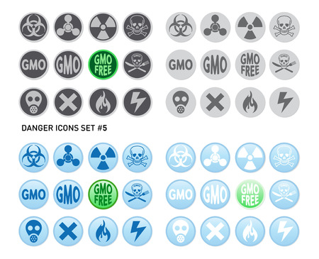 toxic substances: Set of icons for dangerous and hazardous product like radiations, poisons, toxic substances or fire and electricity
