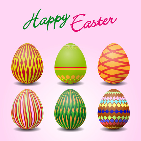 vectorial: Vectorial illustration of six colorful easter eggs