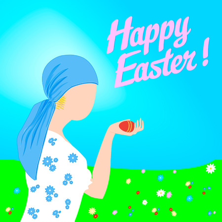 blown: During a nice sunny spring day a girl is holding an easter egg in her hand, flowers have blown in the meadow