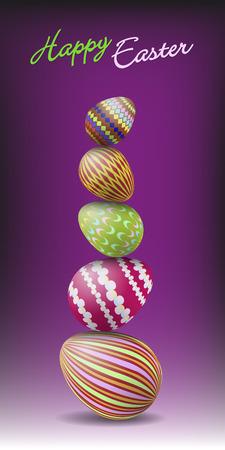 violet background: Un mucchio di uovo di Pasqua colorato su sfondo viola