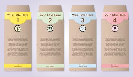 papel artesanal: Cuatro sobres de papel artesanal numeradas para infograf�as