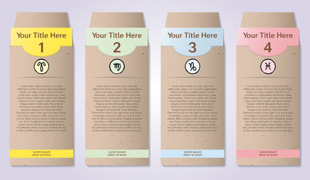 craft paper: Four numbered craft paper envelopes for infographics Illustration