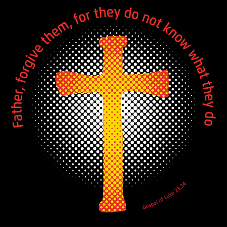 gospel: A Crucifix in a circle with a halftone screen effect in the back symbolizing the light, and a Gospel quote around Illustration