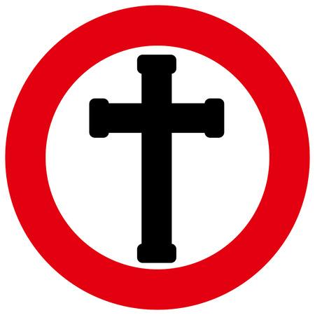 dictature: Une croix noire dans un cercle rouge avec un fond blanc Illustration