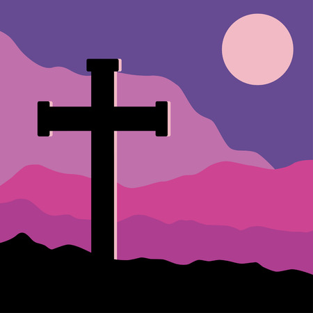 golgotha: A symbolic view of the Crucifix on the Golgotha mountains with the moon in the sky Illustration