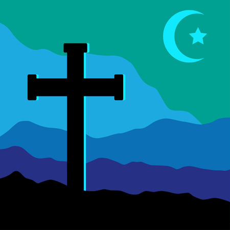 golgotha: A symbolic view of the Crucifix on the Golgotha mountains with the crescent moon and a star in the sky as christian  and muslim symbol together