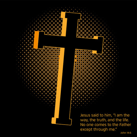 gospel: A golden Crucifix with a halftone screen effect in the back symbolizing the light, and a Gospel quote