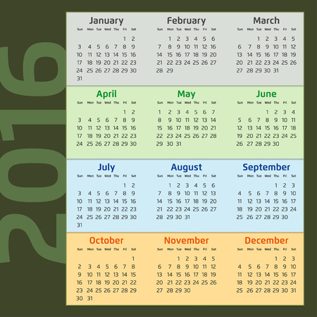 dieci: Dos mil diecis�is Calendario con estaciones colores