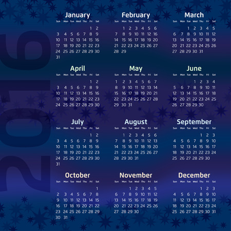 sixteen: Two Thousand Sixteen Calendar on stary night background