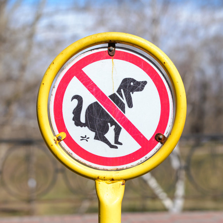dog poop: A sign in a park for no poop with the icon of a dog pooping.
