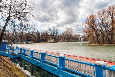gorky: A view of the pond in Gorky Park in Moscow under a cloudy winter sky