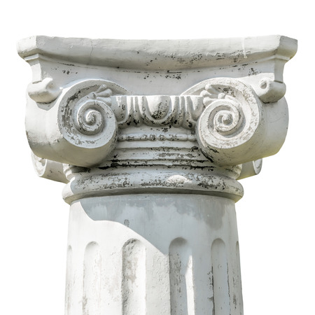 Isolated detail of the head of a greek ionic column