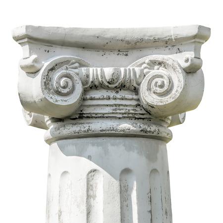 Geïsoleerde detail van het hoofd van een Griekse Ionische kolom