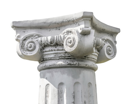 ionic: Isolated detail of the head of a greek ionic column