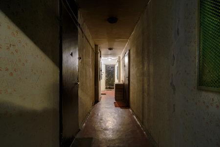 murky: KIEVUKRAINE  April 09 2015  Old glaucous corridor with murky light  in an old soviet building