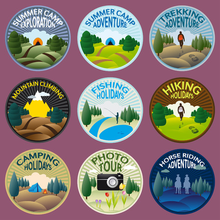 summer camp: Round labels for camping, fishing, trekking, riding, climbing and other outdoor activities to practice in the wild nature