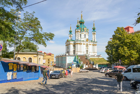 bartolomeo rastrelli: KievUkraine - July 31, 2015 - The in Andriyivskyy church in the in Andriyivskyy Descent was constructed in 1747–1754, to a design by the Italian architect Bartolomeo Rastrelli