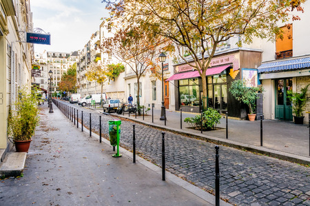 urban street: ParisFrance - October 5, 2009: Cours des Petites Ecuries in the old Paris