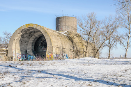 ww2: Kiev, Ukraine  - Febuary  16, 201: Old Stalins secret tunnel  under the Dnieper river. Part of Kiev defense line in WW2 time. Today named Concrete submarine Editorial
