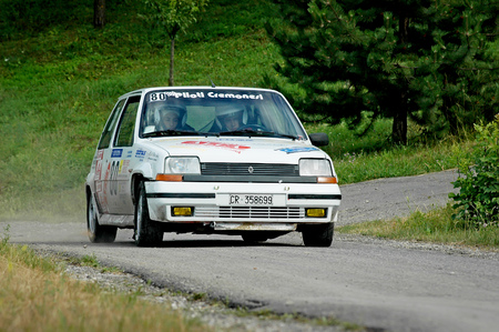 Cremona  Italy -  September 7, 2005 - Unidentified drivers on a white vintage Renault 5 racing car