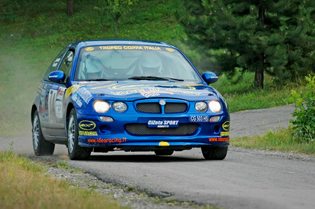 morris: Cremona  Italy -  September 7, 2005 - Unidentified drivers on a blue vintage MG ZR racing car Editorial