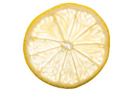 tranche de citron transparent isolé sur fond blanc