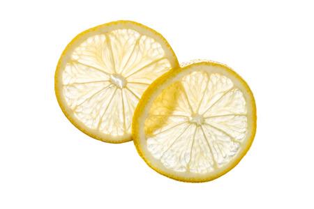 lemon slices: Transparent lemon slices isolated on white background Stock Photo