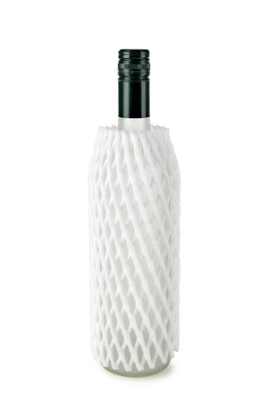 foam safe: Bottle protected by a polystyrene mesh package, isolated on white background Stock Photo