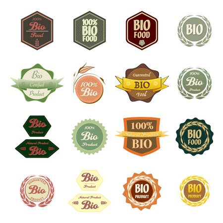 biologic: A set of various labels Bio food and natural product