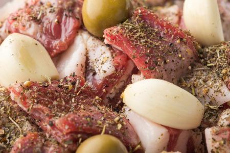 marinade: Marinade of lamb stew with herbes de Provence, garlic and olives