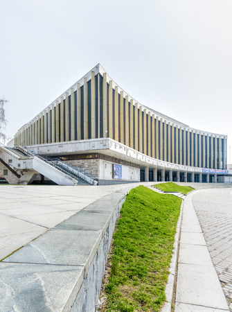 administered: KievUkraine - April 5, 2016 - Palace Ukraina is one of the main theatre venues for official events in Kiev, Ukraine. The venue is a state company administered by the State Directory of Affairs