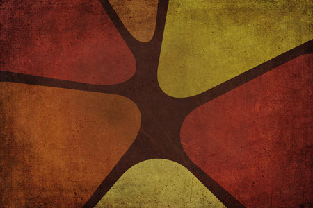 seventies: Sixties or seventies decoration background with texture. Colors yellow, orange and brown Stock Photo