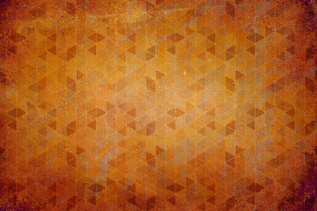 sixties: Abstract sixties decoration background texture with a triangles pattern. Colors rust, orange and yellow Stock Photo