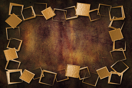 gold brown: A modern decorative metallic gold frame with a textured background. Gold and brown colors Stock Photo