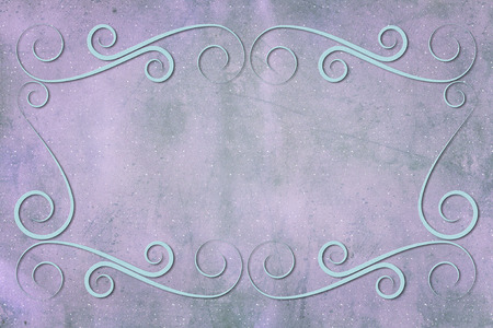 mauve: An antique decorative frame with a background with texture. Colors mauve, blue, green and pink