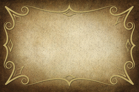 decorative border: An antique decorative frame with a background with texture. Colors yellow, gold and brown