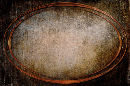old frame: A modern decorative oval metallic frame with a textured background. Orange, beige, brown and copper colors Stock Photo