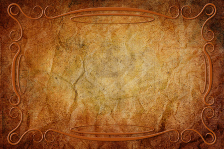 parchment texture: An antique decorative frame with a background with parchment texture. Orange and brown colors