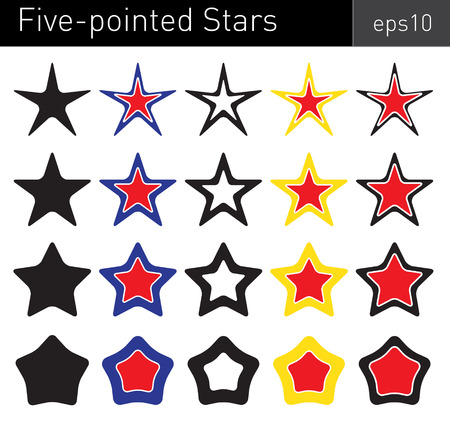estrellas cinco puntas: Various colored five-pointed stars with round angles on white background