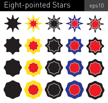 angles: Various colored eight-pointed stars with round angles on white background