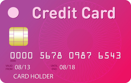 fuchsia: Fuchsia pinkcredit card with pink guilloche