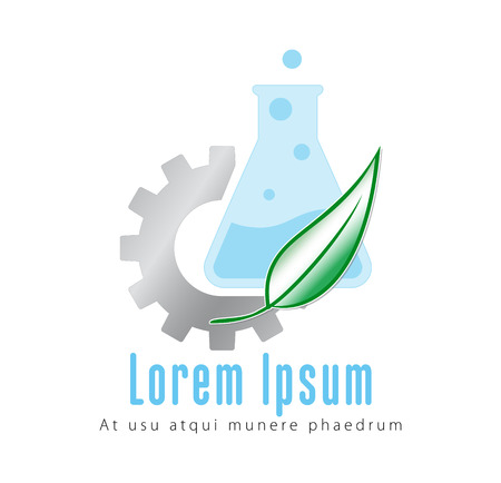 erlenmeyer: gear and erlenmeyer flask for a chemical industry company respectful of ambient and environment