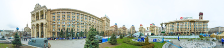 angel de la independencia: KievUkraine - April 09, 2007 - Panoramic of Maidan Nezalezhnosti (Independence Square) in Kiev. It has been the place for political rallies like the Orange revolution and the Euromaidan one.