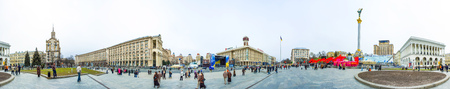 angels fountain: KievUkraine - April 09, 2007 - Panoramic of Maidan Nezalezhnosti (Independence Square) in Kiev. It has been the place for political rallies like the Orange revolution and the Euromaidan one.