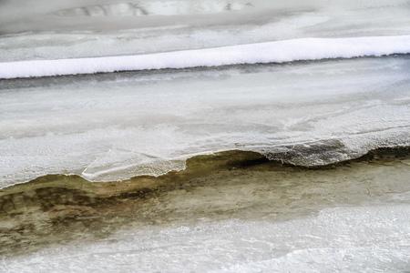 craquelure: Frozen ice texture and snow on the Dnieper river in Kiev, Ukraine, during winter Stock Photo