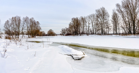craquelure: Landscape panorama with frozen water, ice and snow on the Dnieper river in Kiev, Ukraine, during winter