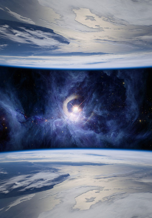 Fantasy image of mirrored Earths symbolizing parallel universes. The V1331Cyg star is shown on the Sword of Orion. Elements of this image furnished .