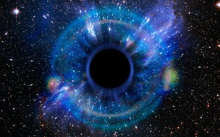Sterren vallen ineen in een diep zwart gat, aangetrokken door het enorme zwaartekrachtveld. Het zwarte gat lijkt op een oog of een iris in de lucht. Elementen van deze afbeelding geleverd door NASA. Stockfoto